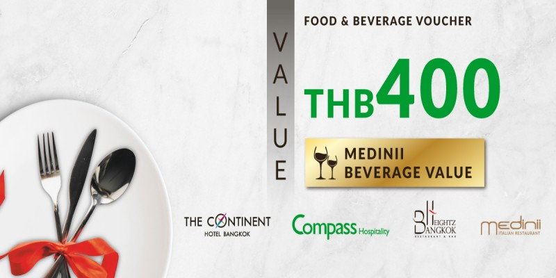Pay 200 THB & Get 400 THB Value Voucher at Medinii Restaurant
