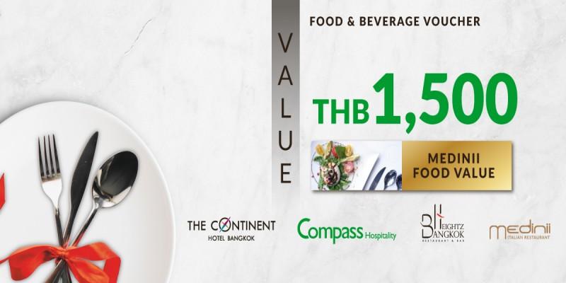 Value Voucher 1,500 baht for price of 1,000 baht at Medinni Restaurant