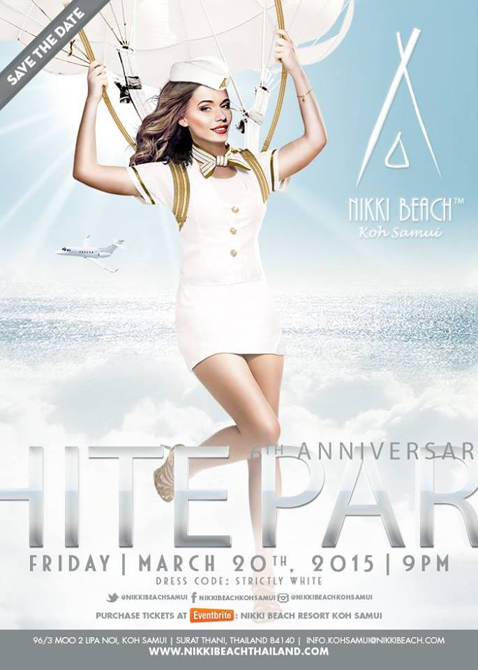 6th Anniversary White Party at the Nikki Beach Resort Samui on March 20, 2015