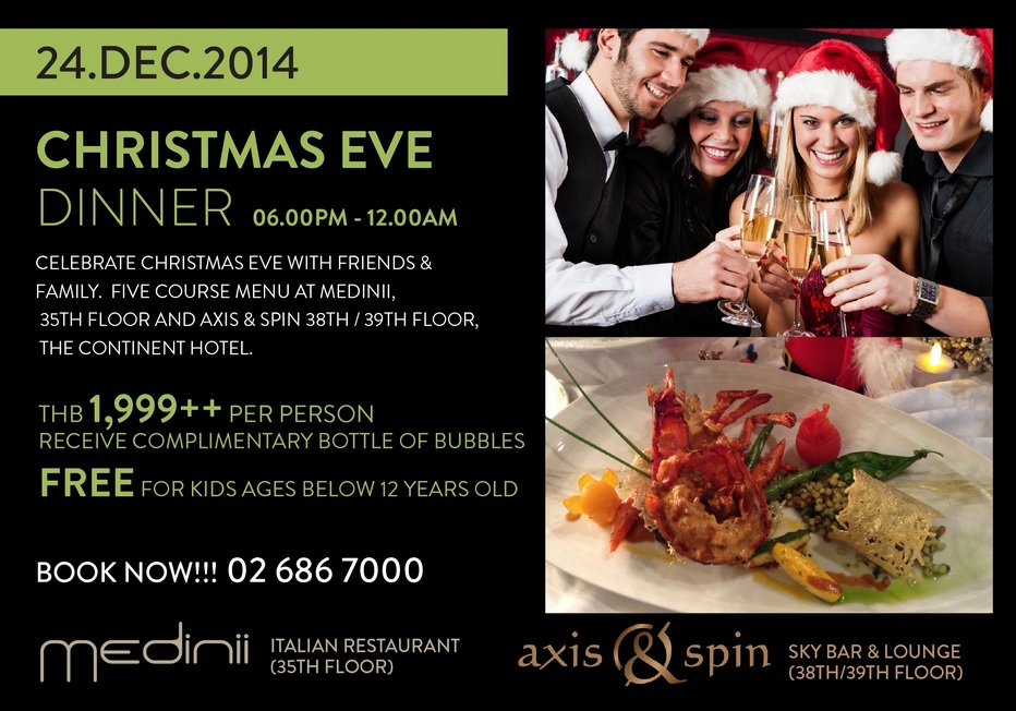 Christmas Eve Dinner at The Continent Hotel Bangkok near the Asok BTS station on Sukhumvit Road