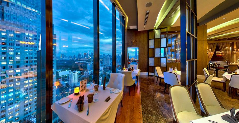 The Medinii Restaurant located on the 35th floor of The Continent Hotel Bangkok near the Asok BTS station on Sukhumvit Road