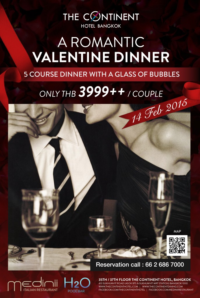 Valentine's Day at the Medinii Restaurant at The Continent Hotel Bangkok