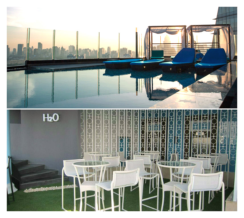 The H2O Pool Bar on the 37th floor of The Continent Hotel Bangkok near the Asok BTS station on Sukhumvit Road