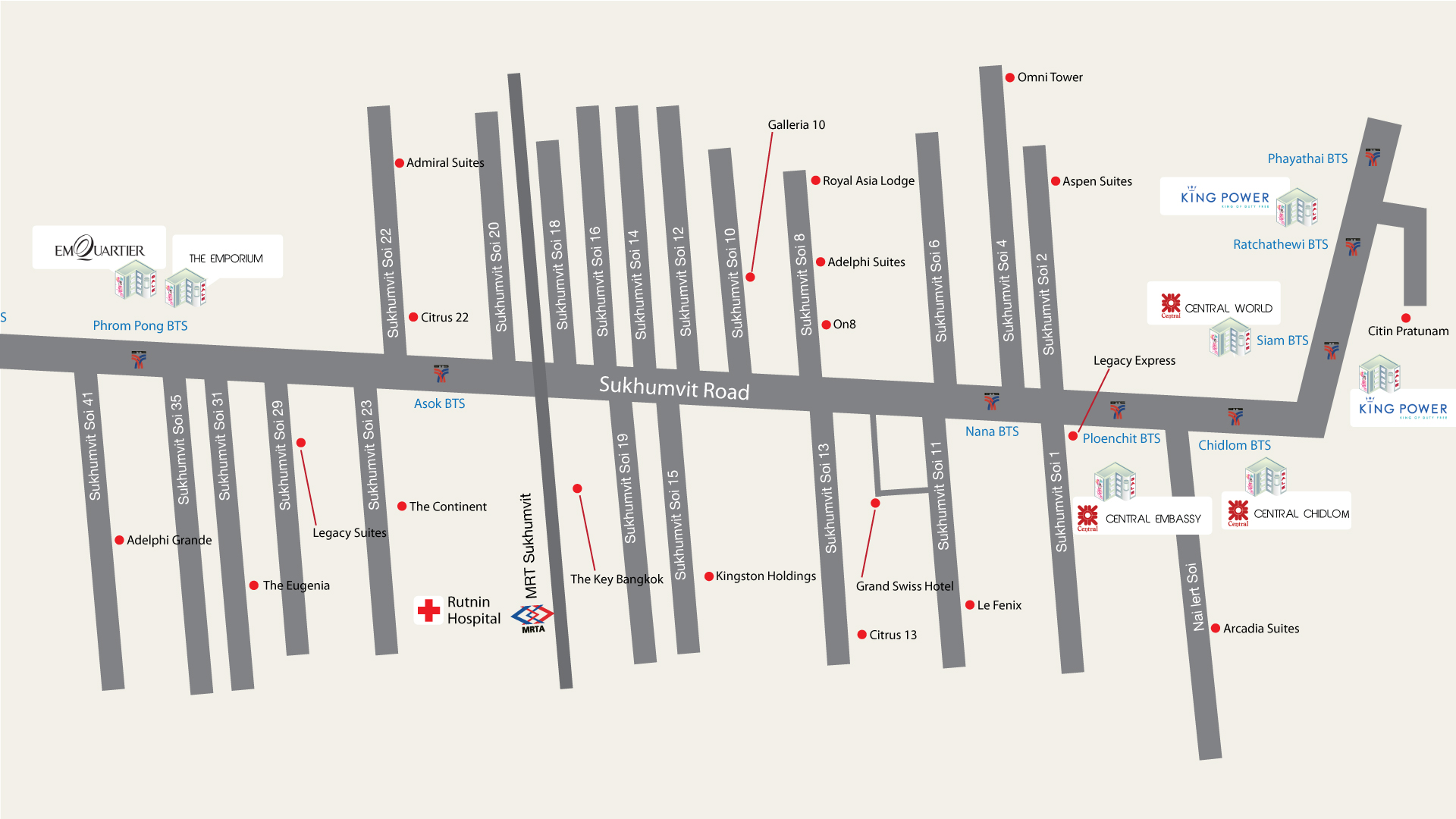Bangkok hotels close to shopping - Map