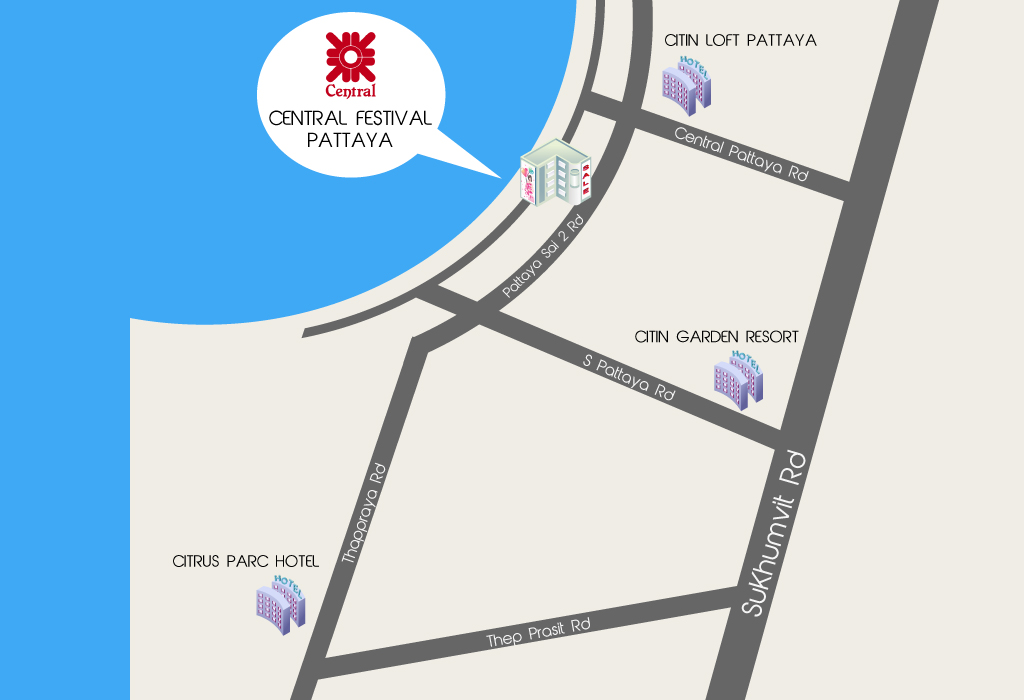 Pattaya hotels close to shopping - Map