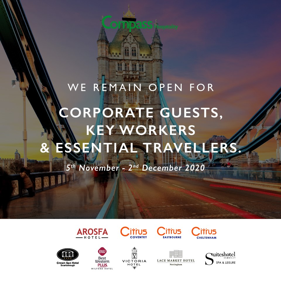 , UK Compass Hospitality Hotels to Remain Open, Compass Hospitality